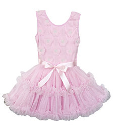A Beautiful Full And Fluffy Petti Dress Embellished With Flowers On Bodice