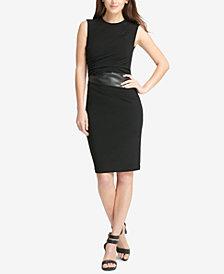 DKNY Faux-Leather-Trim Sleeveless Sheath Dress, Created for Macy's