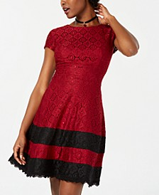 Juniors' Lace Fit & Flare Dress