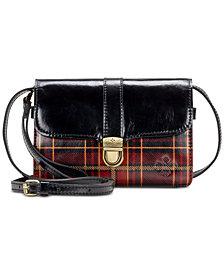 Patricia Nash Tartan Plaid Bianco Leather Crossbody
