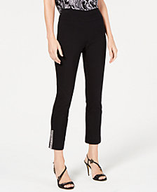 I.N.C. Embellished-Hem Pull-On Straight Pants, Created for Macy's