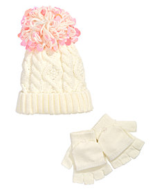 FAB Little Girls 2-Pc. Cable-Knit Hat & Adjustable Gloves Set