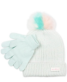 FAB Little Girls 2-Pc. Faux-Fur-Pom Hat & Gloves Set