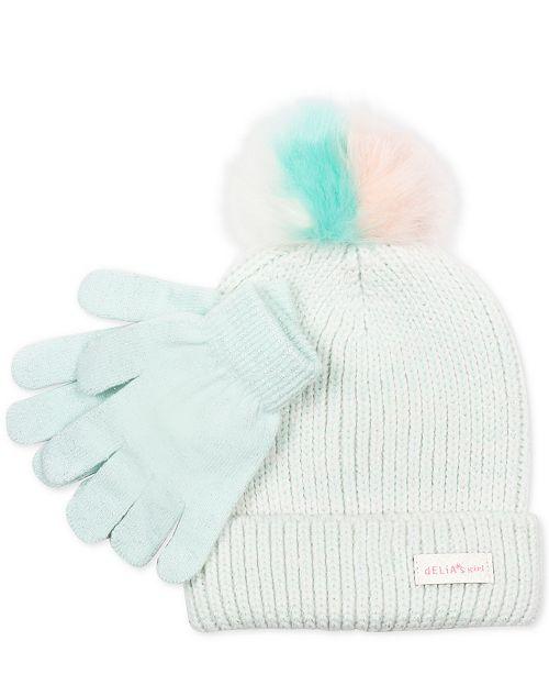 aff5545c601 FAB Little Girls 2-Pc. Faux-Fur-Pom Hat   Gloves Set - All Kids ...