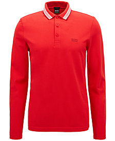 BOSS Men's Regular/Classic-Fit Long-Sleeve Piqué Polo