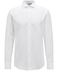 BOSS Men's Slim-Fit Pleated Cotton Shirt