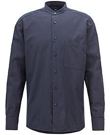 BOSS Men's Relaxed-Fit Stand Collar Cotton Shirt