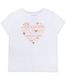 Calvin Klein Big Girls Logo Heart Cotton T-Shirt
