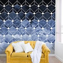Elisabeth Fredriksson Blue Hexagons And Diamonds 12'x8' Wall Mural