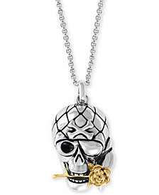 "EFFY® Men's Two-Tone Skull & Rose 20"" Pendant Necklace in Sterling Silver & 18k Gold-Plate"