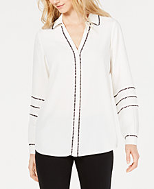 Alfani Swiss-Dot Trim Shirt, Created for Macy's