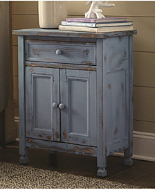 Country Cottage Accent Cabinet, Blue Antique Finish