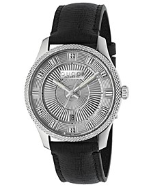 Men's Swiss Automatic Eryx Black Leather Strap Watch 40mm