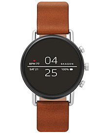 Skagen Men's Falster 2 Brown Leather Strap Touchscreen Smart Watch 40mm