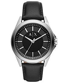 A|X Armani Exchange Men's Drexler Black Leather Strap Watch 44mm