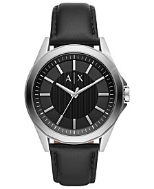 A|X Armani Exchange Men's Drexler Black Leather Strap Watch 44mm