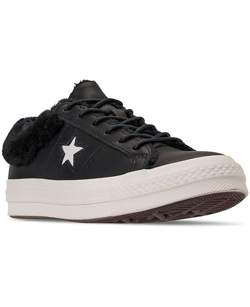 Macy's Fur Faux Shoes Star One Converse from Finish Line Sneakers Finish Sneakers Ox Athletic Women's Casual Line CwqIZXaE