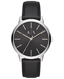 A|X Armani Exchange Men's Cayde Black Leather Strap Watch 42mm