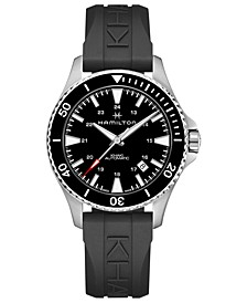 Men's Swiss Automatic Khaki Navy Scuba Black Rubber Strap Watch 40mm