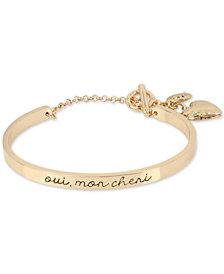 BCBG Gold-Tone Oui, Mon Cheri Heart Locket Cuff Bracelet