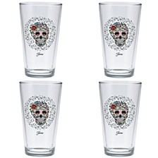 Fiesta Skull and Vine Sugar 16-Ounce Tapered Cooler Glass Set of 4