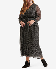 Lucky Brand Plus Size Polka-Dot Maxi Dress