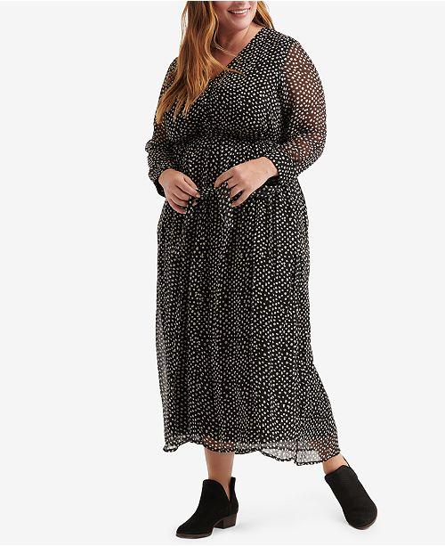 Lucky Brand Plus Size Polka-Dot Maxi Dress & Reviews - Dresses ...