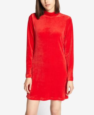 Endless Night Velour Shirt Dress in Street Red