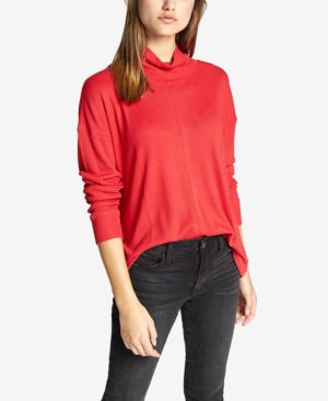 Highroad Mock-Neck Waffle-Knit Top in Street Red