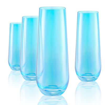 Set of 4 9oz. Luster Turquoise Stemless Flutes