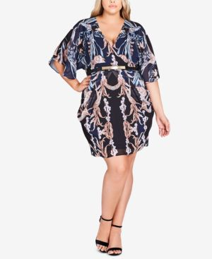 CITY CHIC Trendy Plus Size Belted Drape Dress in Luxe Deco