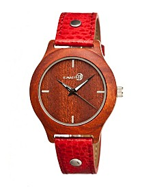 Earth Wood Tannins Leather-Band Watch Red 41Mm