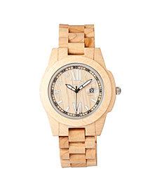 Earth Wood Heartwood Wood Bracelet Watch W/Date Khaki 43Mm