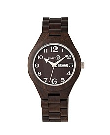 Sapwood Wood Bracelet Watch W/Date Brown 41Mm