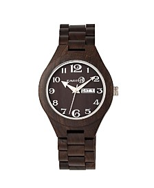 Earth Wood Sapwood Wood Bracelet Watch W/Date Brown 41Mm