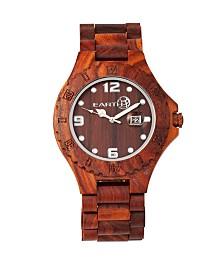Earth Wood Raywood Wood Bracelet Watch W/Date Red 47Mm