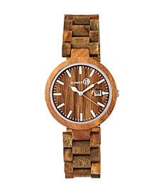 Earth Wood Stomates Wood Bracelet Watch W/Date Olive 40Mm