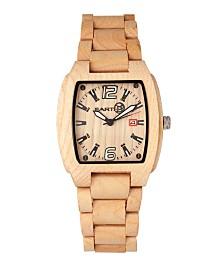 Earth Wood Sagano Wood Bracelet Watch W/Date Khaki 42Mm