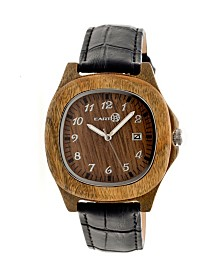 Earth Wood Sherwood Leather-Band Watch Olive 40Mm