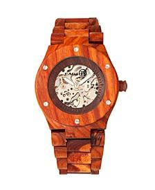 Grand Mesa Automatic Skeleton Wood Bracelet Watch Red 44Mm