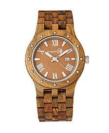 Earth Wood Inyo Wood Bracelet Watch W/Date Olive 46Mm