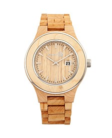Cherokee Wood Bracelet Watch W/Magnified Date Khaki 48Mm