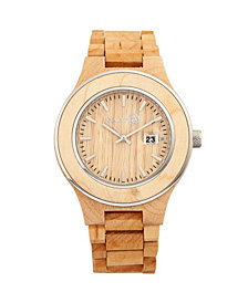 Earth Wood Cherokee Wood Bracelet Watch W/Magnified Date Khaki 48Mm