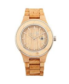 Earth Wood Cherokee Wood Bracelet Watch W/Magnified Date Khaki 48Mm