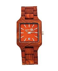 Earth Wood Arapaho Wood Bracelet Watch W/Date Red 39Mm