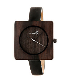 Earth Wood Teton Leather-Band Watch Brown 38Mm