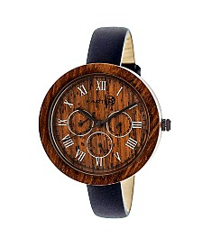 Earth Wood Brush Leather-Band Watch W/Day/Date Red 40Mm