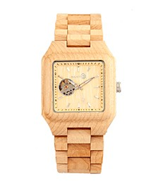 Black Rock Automatic Wood Bracelet Watch Khaki 42Mm