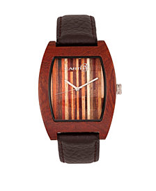 Earth Wood Cedar Leather-Band Watch Red 40Mm