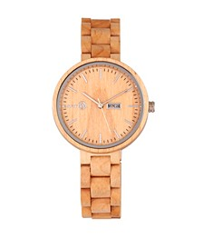 Mimosa Wood Bracelet Watch W/Day/Date Khaki-Tan 39Mm